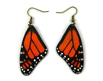 Orange and black Monarch butterfly wings earrings, handmade plastic fancy dangles earrings, recycled CD butterfly wings designer earrings