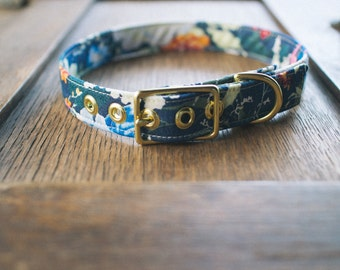 Hibiscus + Brass Collar - Made in Melbourne
