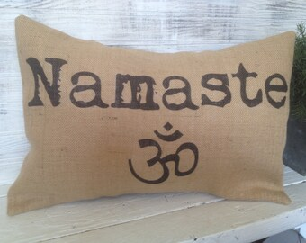 NAMASTE,OHM,YOGA Pillow, Burlap,Insert Included