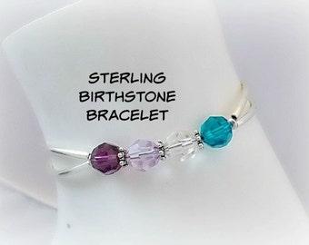 Swarovski Mother's Day Sterling Silver Bracelet //Family Birthstone Jewelry // Customized for Mom // 4 Family Birthstone Bracelet for Her