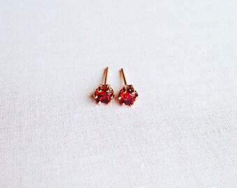 Red Stud Earrings - Red Crystal Earrings - 3mm Stud Earrings - 3mm Red Earrings - Tiny Red Stud Earrings - Red CZ Stud Earrings