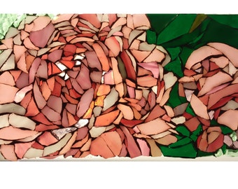 Pink Peony Stained Glass Mosaic