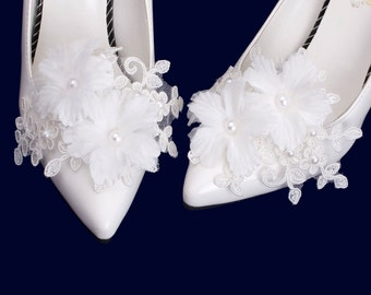 Wedding Bridal Organza Flower Shoe Clips, Wedding Shoes Clips, Wedding Corsage Shoe Clips