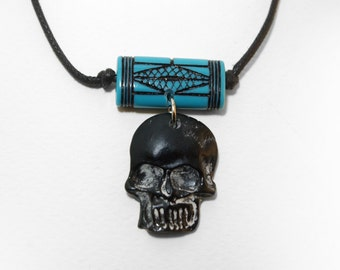 turquoise Ethnic bead resin bicolored skull Voodoo Necklace