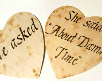 He asked - rustic engagement photo prop, wooden pair of hearts, engagement photo prop, wedding engagement signs, wedding accessory