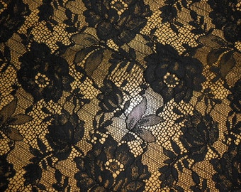 Black french lace  fabric by the yard/metre