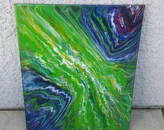 """16"""" X 20"""" poured acrylic gravity painting"""