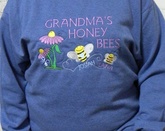 Grandma's Honey Bees - Personalized Embroidered Crewneck Sweatshirt