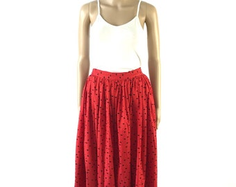 Vintage red with black polka dots a-line full length skirt, M