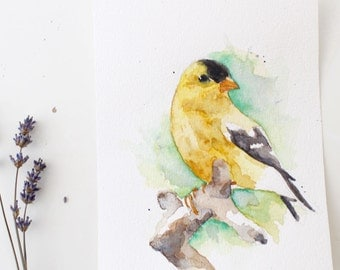 Original Watercolor Painting, Yellow Bird, One of a kind Watercolour