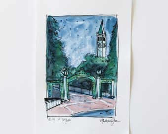 small sketch of Sather Gate at UC Berkeley