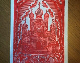 Russian church red linocut