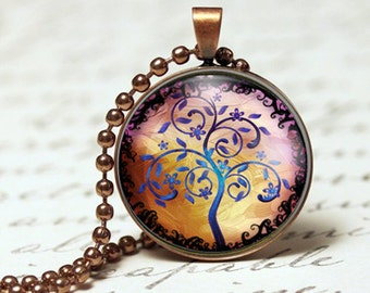 Multi-coloured Tree of Life Pendant Necklace. Pendant Art, Gift for her