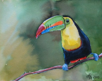 """Toucan Original watercolor paintings Handmade 6""""x 8"""" birds, forest birds, painting, picture"""