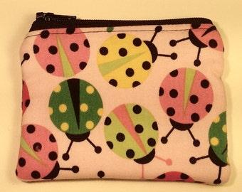 Handmade cotton coin purse - pink ladybirds