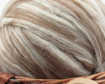 Mixed Finnish Wool Top Roving - Undyed Natural Spinning & Felting Fiber / 1oz