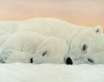 Art Print of Polar Bears Acrylic Painting