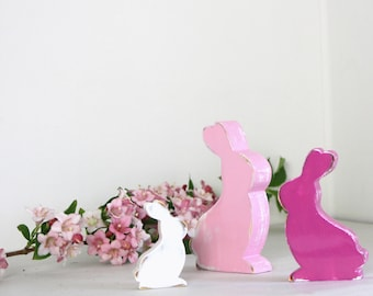 pale pink, pink and white wooden rabbits patina-Ed, customizable colors - mylittledecor.