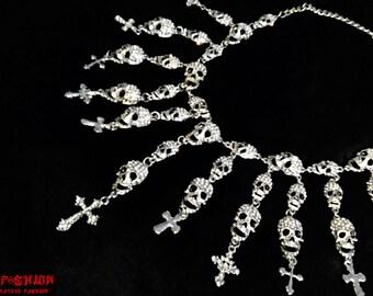 death skull cross occult choker necklace