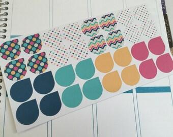 Navy, Teal, Orange, Hot Pink Planner Stickers - Teardrops