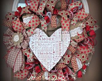 Valentine's Day Deco Mesh Wreath, Valentine's Day Mesh Wreath, Deco Mesh Wreath, Valentine Mesh Wreath, Valentine's Day Wreath