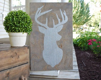 Wood sign- deer head sign.  Christmas, Christmas home decor, Christmas sign, wooden christmas sign, deer head, holiday decor, wooden, signs.