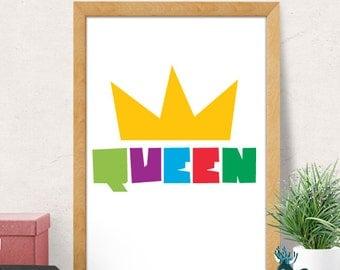 Kids Wall Art Print, Baby Girl Nursery, Queen nursery print, Kids Nursery Wall Art, Girl Nursery Wall Decor, Playroom Decor, Girl Room Decor