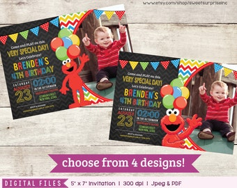 Elmo Invitation. Elmo Invite. Elmo Birthday. Sesame Street Invitation. Sesame Street Birthday. Elmo Party. Sesame Street Party. Photo Invite