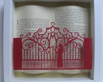 Rebecca Daphne du Maurier paper cut framed art. Papercutting. Book lovers gift.