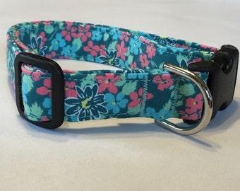Adjustable Yellow, Green and Pink Flower Print Dog Collar