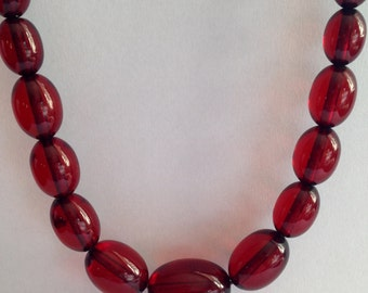 Vintage 16 inch cherry amber necklace