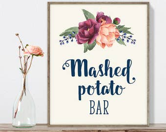 Mashed Potato Bar Sign DIY, Potatoes Sign / Burgundy Peony Berry Bouquet, Peach Blush Pink Ranunculus, Fall Wedding ▷ Instant Download JPEG