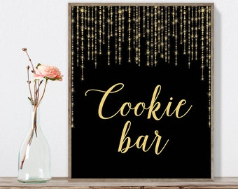 Cookie Bar Sign DIY / Dessert Sign / Gold Wedding Sign / Great Gatsby, Bokeh String / Black and Gold Calligraphy ▷Instant Download JPEG