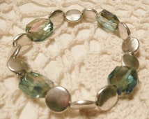 crystal and silver disc bracelet