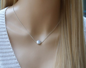 Coin Pearl Necklace, Freshwater Coin Pearl Pearl Necklace, Silver Coin Pearl Necklace, Bridesmaid Necklace,