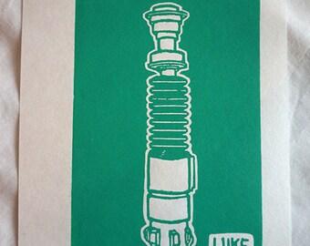 Luke's Lightsaber Linocut Print