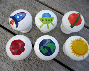 Handpainted Wooden Drawer Space Knobs - Set of 6