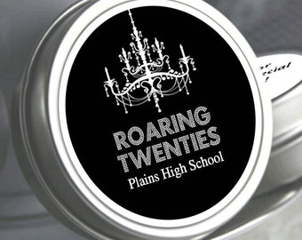 """12 Roaring Twenties Personalized Prom Mint Tin Favors - Select the quantity you need below in the """"Pricing & Quantity"""" option tab"""