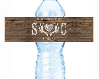 30 Deer Antlers Country Wedding Water Bottle Labels, Rustic Wedding Water Bottle Labels, Rustic Wedding Decor, Country Wedding Decor