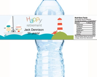 """20 Personalized Retirement Water Bottle Labels - Select the quantity you need below in the """"Pricing & Quantity"""" option tab"""