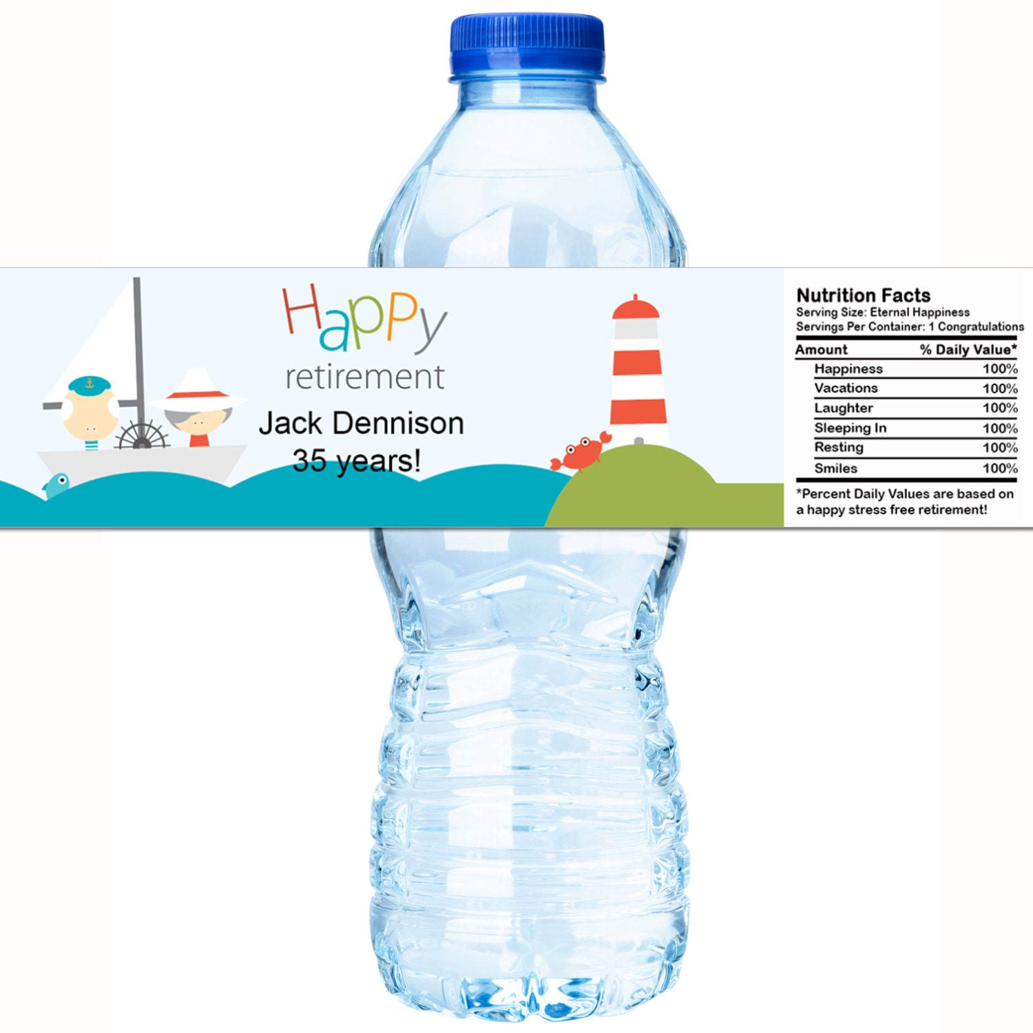 20 Personalized Retirement Water Bottle Labels Select The