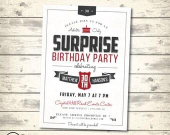 Surprise Birthday Party Invitation, Retro Vintage Birthday Party, Adults Only Birthday Party, Male Surprise Birthday, Digital Printable