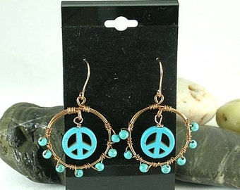 Peace Sign Turquoise Hoops - 60's Hippie Jewelry
