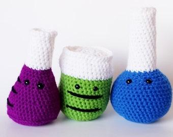 Choice of 3 Amigurumi Crochet Chemistry Science Glassware Set- Beaker, Erlenmeyer Flask, Test Tubes, Volumetric Flask