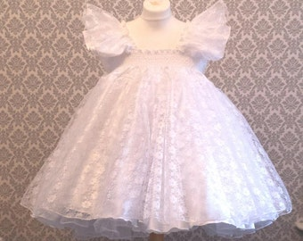 All sizes 55 GBP Adult Baby Sissy Lockable Short Dress Top in White frilly satin and lace FULL skirt Fancy Dress Cosplay Princess