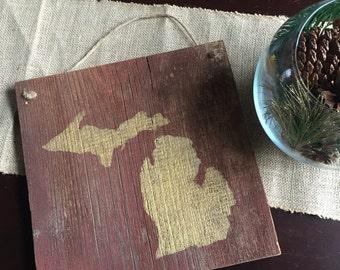 Rustic Gold Michigan Barnwood Sign