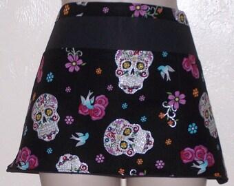 Handmade server waitress half apron Metallic Sugar Skulls  with three pockets 6133