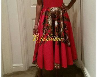 Red Dashiki skirt, size 8