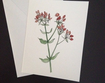 Handmade greeting card - Hand painted floral card- Leaves/ Floral/ Greetings/Holiday cards/Special occasion