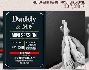 Fathers Day Mini Session, Daddy and Me Mini Session Template, Marketing Board, Photoshop Template, Photography Marketing Set, Chalkboard